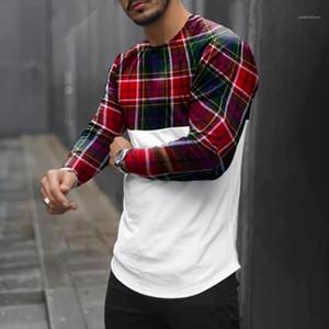 Pullover girocollo Mens T casuali Long Sleeve Plaid Stampa Maschi Abbigliamento Uomo Designer con pannelli magliette Moda Slim