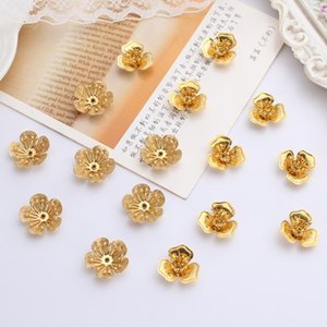 30pc lot Metal Alloy Copper Flowers Leaves Butterfly Leaf Beads Caps Gold Plated For Jewelry Crafts Making Materials Accessories