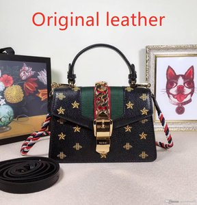 luxury 2019 new star with the same paragraph bee shoulder Messenger bag guc home stars portable handbags leather chain small square bag