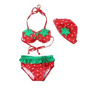 Baby Girl 3Pcs Strawberry Imprimer Ensemble bikini Maillots de bain maillot de bain pour enfants tout-petits été Plage Maillot de Bain équipement Beachwear Plage Sports nautiques B