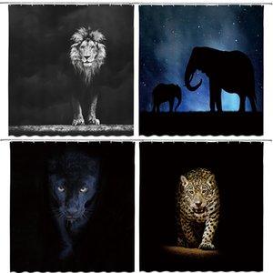 후크와 동물 인쇄 사자, 호랑이, 고양이, 코끼리, 3D 목욕 커튼 방수 폴리 에스테르 천 빨 욕실 샤워 커튼