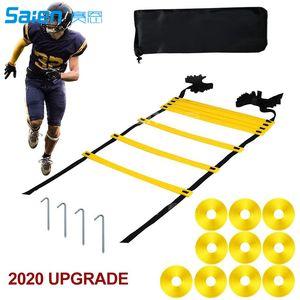 Conjunto de escaleras de agilidad de 20 pies con 12 peldaños, conos de disco 12 / deportes, 4 clavijas de metal, 1 bolsa de transporte - para fútbol, fútbol, entrenamiento de velocidad