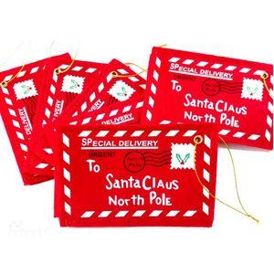 لسانتا كلوز الأحمر عيد الميلاد تحية حقائب مغلف قلادة عيد الميلاد ديكور هدايا فتاة مدرسة بطاقات الزفاف اكسسوارات المنزل شحن مجاني