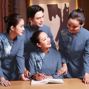 Server cleaning worker long short sleeve hotel hot pot Chinese restaurant catering 4 season female male tang jacket cotton and linen