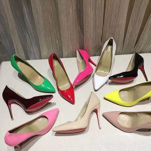 Marca Glitter Red inferiore a spillo scarpe basse donne di lusso soli pattini rossi Paillettes Tacchi signora Party scarpe da sposa Scarpe a punta pompe con la scatola