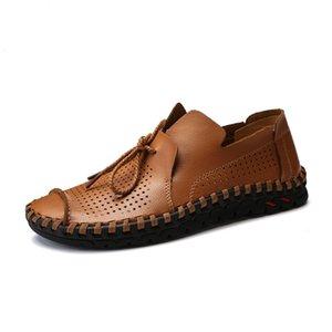 Shoe condução do homem Sapatos de couro Hollowed Homens verão respirável Handmade Qualidade Homens Loafer Shoes Flats Big Size 38-50 Mocassins