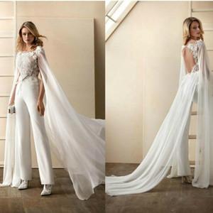 2020 Nova Macacões vestidos de noiva com filme Floral Appliqued mangas curtas vestidos de noiva Open Back Sash tornozelo comprimento Abiti Da Sposa