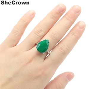 18x13mm SheCrown Sıcak Satış Su Damlası Şekli 18x13mm Gerçek Yeşil Zümrüt Hediye İçin Bayanlar Gümüş yüzükler