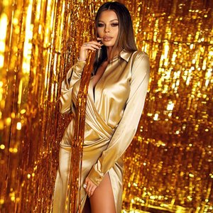 2020 Charming Women Long Split Dress Long Sleeves Deep V Neck Soft Satin Sexy Party Dress Elegant Shirt Gowns Floor Length Nightclub