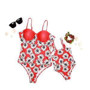 Moda Mãe Filha Verão Sem Mangas Florais Sunsuits Família Correspondência Swimwear Mulheres Criança Flor Cinta Backless Beach Wear