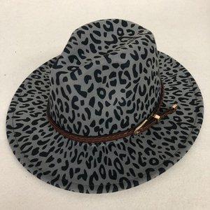 ZJBECHAHMU casuale nuovo modo di inverno stampa del leopardo Jazz Fedoras Uomini Donne Vintage Trilby protezione di svago grande bordo feltro Cappello Panama