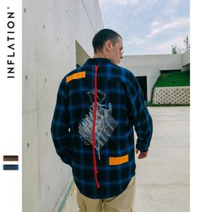 INF Мужская одежда | 2019 New High Street Личность Arc Hem Красная веревка Свободная вышитая клетчатая мужская рубашка с отворотом