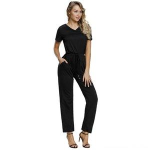 Shi ying été nouveau style de couleur solide Vneck à manches courtes taille Élastique Laceup plissés WideLeg Casual Romper Femmes 64388 Pantalons