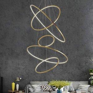 Design moderne et minimaliste or Housing éclairagiste pendentif rond suspendu lampe cercle anneau or suspension lumière led maison villa