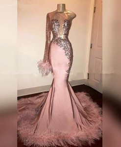 Glitter Sequin Long Sleeve Mermaid Pink Black Girl Prom Dress with Feathers Train One Shoulder African Formal evening Dresses