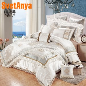 Silver Luxury European Style 11pcs bedding bedspread linens embroidered silk cotton fabric King Size duvet cover set bed flag