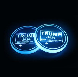 트럼프 컵 패드 LED 아크릴 컵 받침 미국 대통령 선거 다채로운 발광 컵 매트 트럼프 자동차 미끄럼 방지 매트 LJJO7979