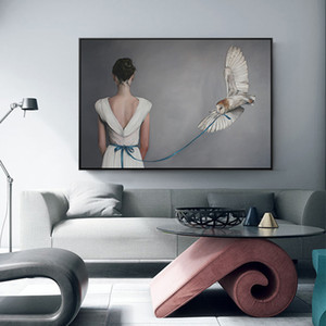 Donna moderna in abito bianco Stampa su tela Poster Stampa Unica decorazione minimalista Immagini per pareti per soggiorno Cafe camera da letto
