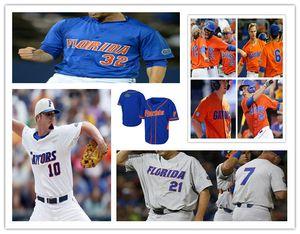 Benutzerdefinierte Florida Gators College Trikots Baseball Deacon Liput JJ Schwarz Brady Sänger Wil Dalton Austin Langworthy Jonathan India White Blue