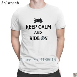 Keep Calm and Ride On tshirts Costume Classic top tee Creative t shirt for men cotton Formal Free Shipping Anlarach