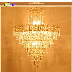 FUMAT Cono invertido Glifo de cristal dorado K9 Stainess Acero LED Iluminación colgante Lámpara de lujo Lustres para el comedor Vestíbulo dormitorio