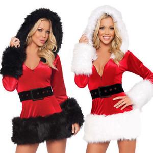 جديد وصول عيد الميلاد نمط اللباس المرأة مثير زي سانتا كلوز عيد الميلاد الفراء تأثيري سيدة الزي ملابس تنكرية أحمر واحد الحجم الساخن