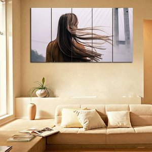 Frameless 5 pezzi / set Pretty Lady Back capelli lunghi dipinto su tela Wall Art Printings Room Decor Modern Artwork Poster