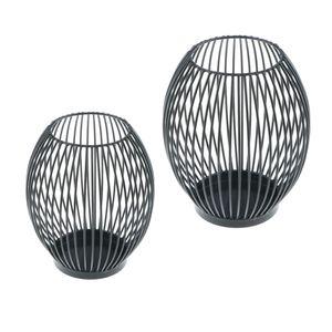 Conjunto de 2PCS oca-out Bird Cage Castiçal Tealight votiva LED Castiçal lâmpada decorativa