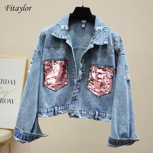 Fitaylor neue Frauen-Loch-Jeans-Jacke Damen Sequin Spliced Jean-Mantel-Frühlings-Herbst-Frauen Basic-Jacke