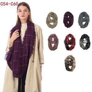 Plaid Infinity Scarf 7 colores 40 * 85cm Winter Grid Check Ring Bufanda Al aire libre Warm Loop Wraps Neckwear 15pcs LJJO7152