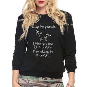 Sweatershirts cotone Unicorn Xmas Felpa con cappuccio jumper delle nuove donne con cappuccio Pullover Tops Inverno Nero Grigio Bianco