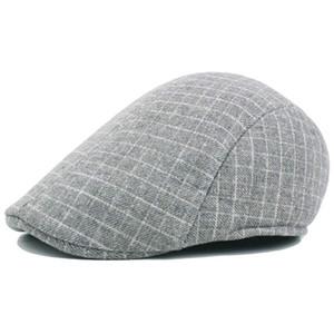 Vintage Men's Irish Ivy Plaid Flat Cap Gatsby Newsboy Hats Driver Winter Beret Cap Boina Grey Brown Size 58cm