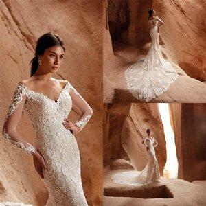 Eddy K Mermaid Wedding Dresses Sexy V-neck Long Sleeve Full Appliqued Lace Bridal Gown Custom Made Sweep Train Boho Robes De Mariée