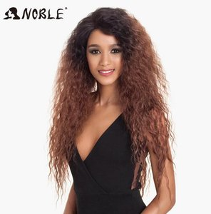 2020 New Noble Hair Synthetic Lace Front Wig ombre blonde Wig 30 inch Long Kinky Curly Baby Hair Wig Synthetic Wigs For Black Women