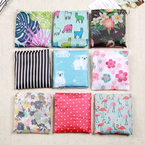 Multi-color polyester foldable recycling shopping eco-friendly reusable cartoon flowers, fruits and vegetables grocery bag