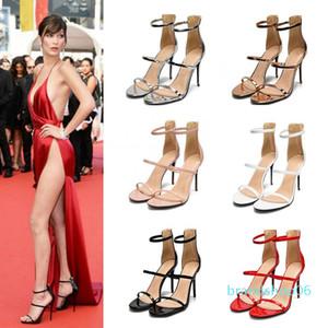 Goddess2019 cuir verni été un Apportez trois mots Fasciola Rome Sandales Femme Noir Sexy Haute-Chaussures à talons fine avec Joker