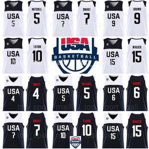 Copa Mundial 2019 Dream Team USA 6 Joe Harris 7 Marcus Smart 8 Harrison Barnes 11 Mason Plumlee Myles Turner Khris Middleton Camisetas de baloncesto