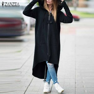 2019 ZANZEA Le donne con cappuccio a maniche lunghe Zipper coulisse casuale irregolare del cappotto solido casuale giacca lunga felpata Plus Size Y191014
