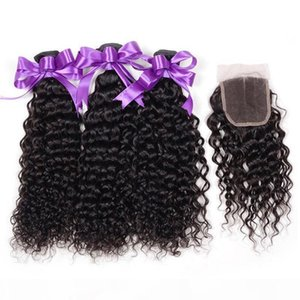 L Brazilian Kinky Curly Human Hair 3 Bundles With Closure Cheap Non Remy Virgin Human Hair Weave Extensions With Lace Closure