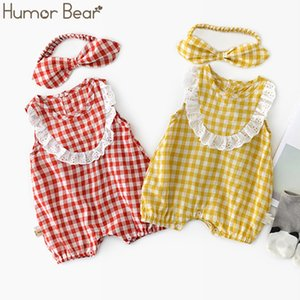 Humor Bear 2020 Summer Baby Clothes Brand New Fashion Cute Plaid Prints Kids Clothing+ Headband Toddler Girl Rompers Clothing
