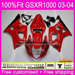 Injection Body For SUZUKI GSXR-1000 GSXR1000 03 04 Bodywork 10HM.3 GSX-R1000 GSX R1000 03 04 K3 GSXR 1000 2003 2004 Fairing Nice Red sale