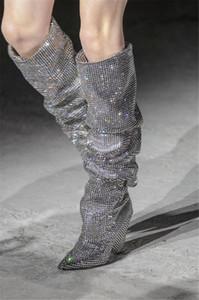 Nuova moda inverno frizzante tempestato di diamanti punta aguzza scarpe stivali tacco a cono 8 centimetri modello di grandi dimensioni da donna scarpe tacchi