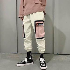 Couleur Vintage Hip Hip Pantalons bloc Patchwork Corduroy Cargo Harem Pantalon Streetwear Harajuku Jogger Sweatpant coton Pantalon 2019