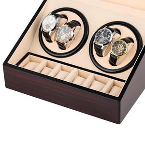 6 + 4 relógio automático Winders Abrir Motor Relógio de luxo Winding Winder armazenamento caso Colecção Titular exibição silenciosa Motor Box