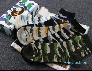 Box Packed Camouflage Socks Couple Dark Joker Sport Stocking All Cotton Men &#039 ;S Apes Monkeys Mark Socks 5 Pairs