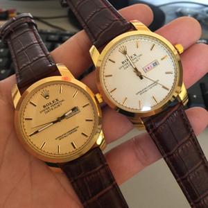 Regalo de la manera deporte de alta calidad reloj de cuarzo correa de negocios de lunes a viernes Doble Calendario de cuero clásico hombres de lujo