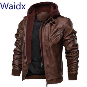 Waidx 2019 de invierno para hombre de la motocicleta chaqueta de cuero de cuero de la PU de la chaqueta con capucha de la vendimia de la motocicleta abrigos de tela de la UE más el tamaño de Dropship