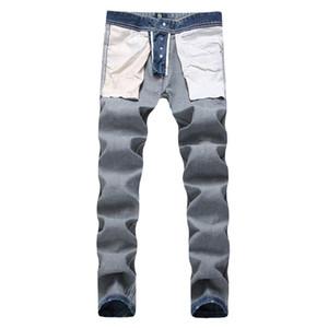 Azul claro largo y recto Jeans para hombre mediados de cintura regular lavado mosca de la cremallera Jeans para hombre Ropa Hombre