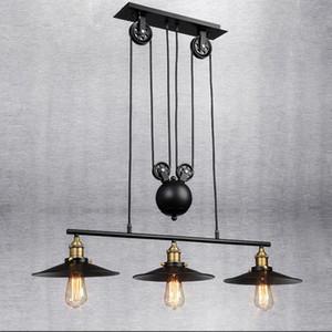 Vintage Demir Çatı Endüstriyel Amerikan Ülke Kasnak Kolye Işıkları Ayarlanabilir Tel Lambaları Geri Çekilebilir Bar Aydınlatma