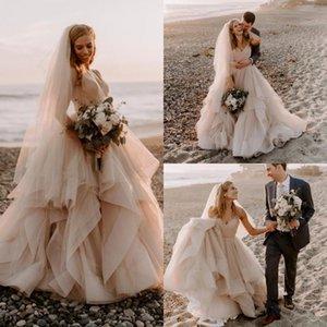 2020 Romantische Spaghetti Strap Cascading Rüschen Brautkleider Falten Tüll A Line Country Beach Boho Brautkleider mit Schärpe